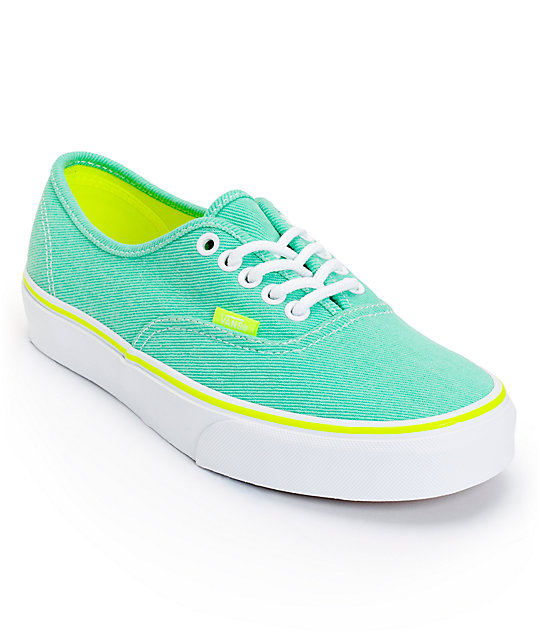 Vans Authentic Aqua Green & Yellow Washed Twill Shoes (Womens)