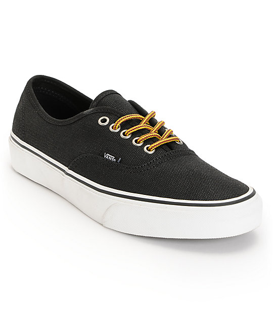 Vans Authentic Black & Marsh Waxed Canvas Skate Shoes (Mens)