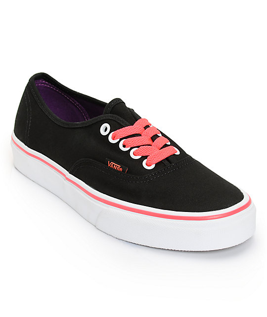 Vans Authentic Black & Neon Red Shoes (Womens)