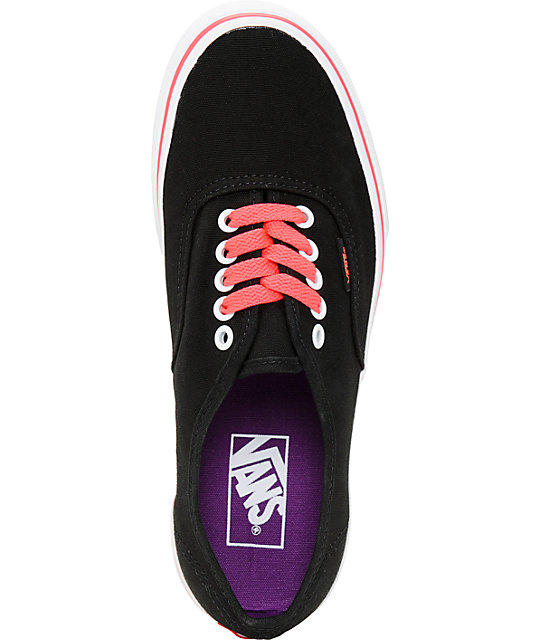 Vans Authentic Black & Neon Red Shoes