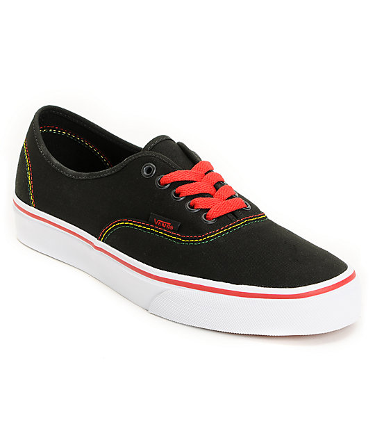 Vans Authentic Black & Rasta Skate Shoes (Mens)