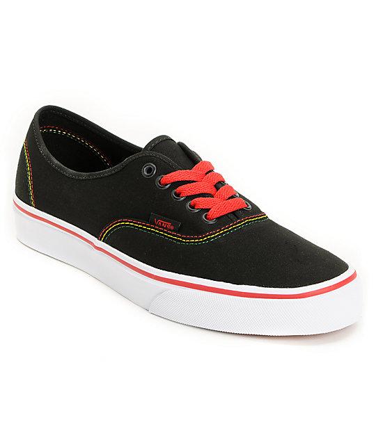 Vans Authentic Black & Rasta Skate Shoes (Mens)
