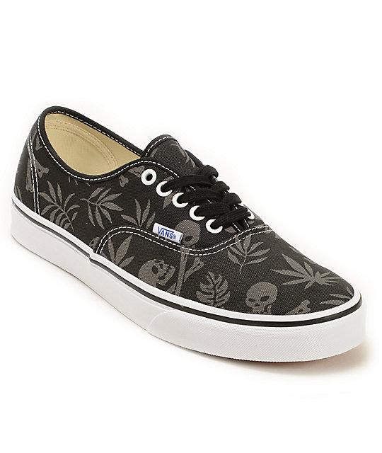 Vans Authentic Black Aloha Skate Shoes (Mens)