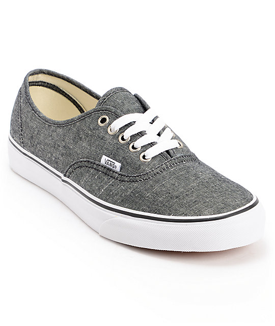 Vans Authentic Black Chambray Skate Shoes (Mens)