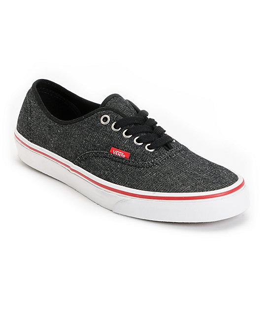 Vans Authentic Black Denim & Red Skate Shoes at Zumiez : PDP