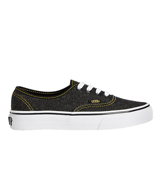 Vans Authentic Black Denim Shoes (Womens)