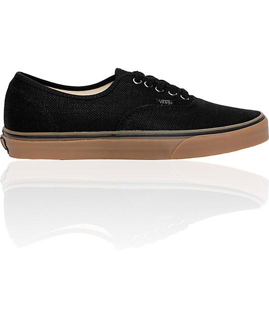 Vans Authentic Black Hemp & Gum Shoe