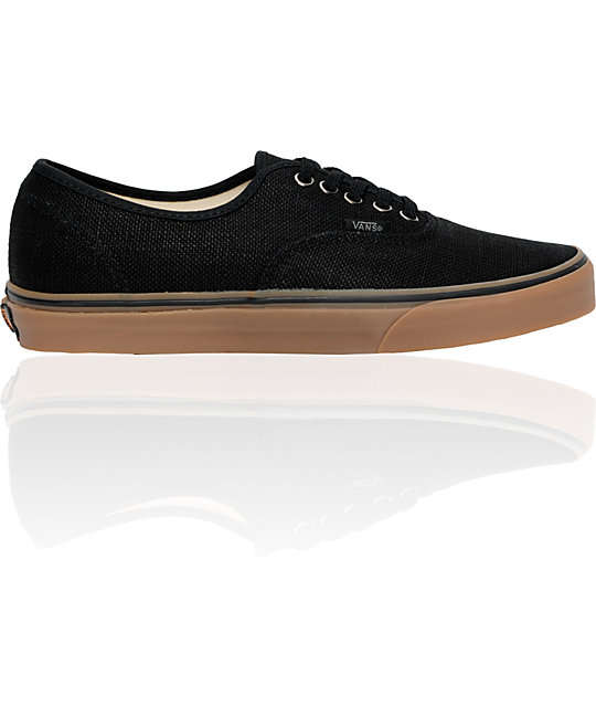 Vans Authentic Black Hemp & Gum Skate Shoes