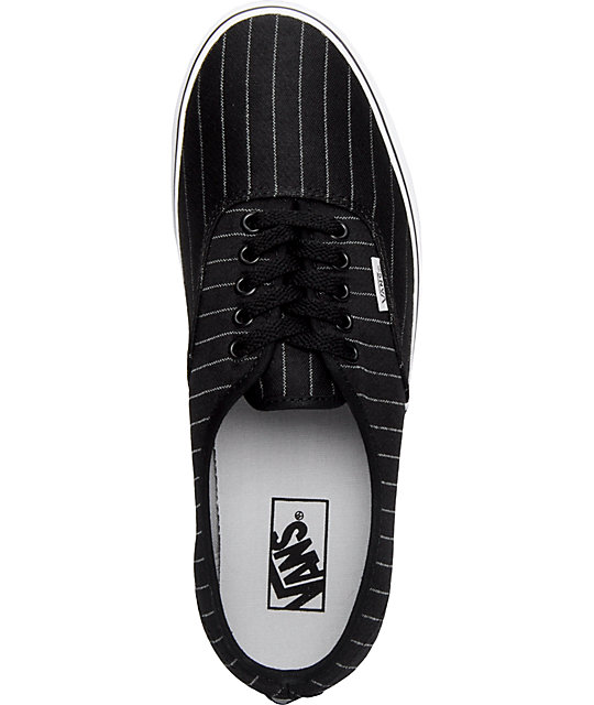 Vans Authentic Black Pinstripe Skate Shoes