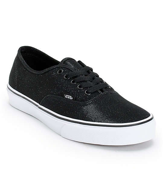 Vans Authentic Black Shimmer Shoes (Womens)