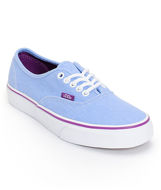 Vans Authentic Blue & Sparkling Grape Washed Twill Shoes (Womens)