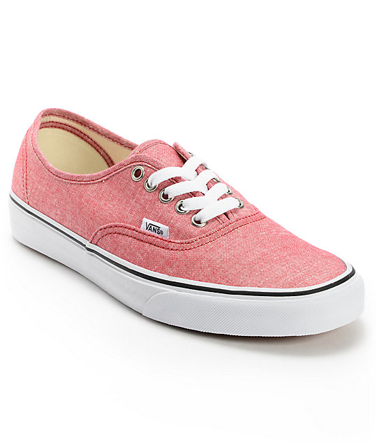 Vans Authentic Chambray Chili Pepper Canvas Skate Shoes