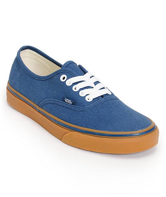 Vans Authentic Dark Denim & Gum Skate Shoes (Mens)