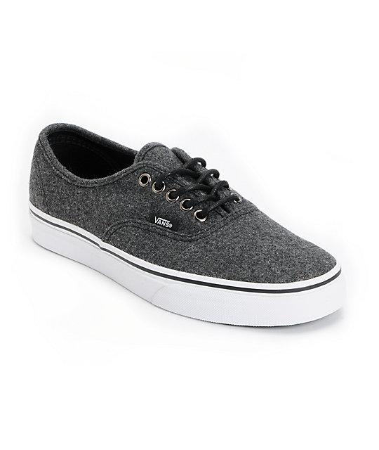 Vans Authentic Dark Grey Wool Skate Shoes (Mens)