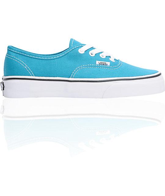 Vans Authentic Enamel Blue Lace Up Shoes (Womens)