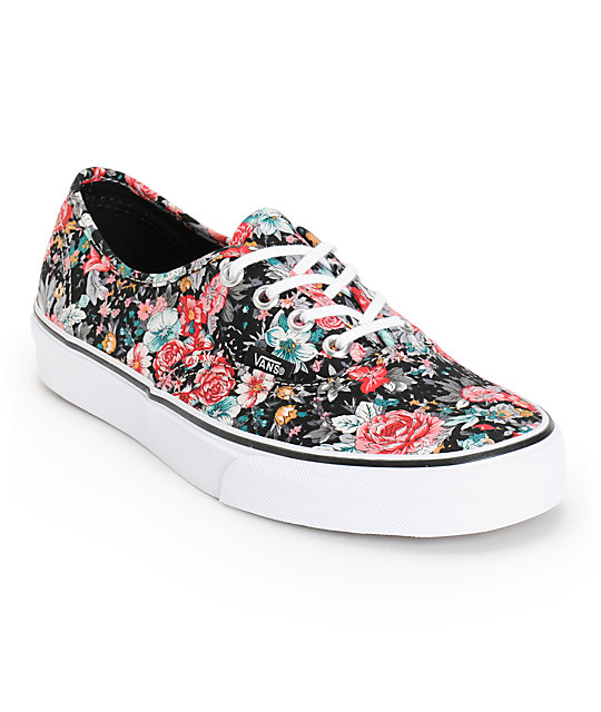Vans Authentic Floral Print Shoes (Womens)