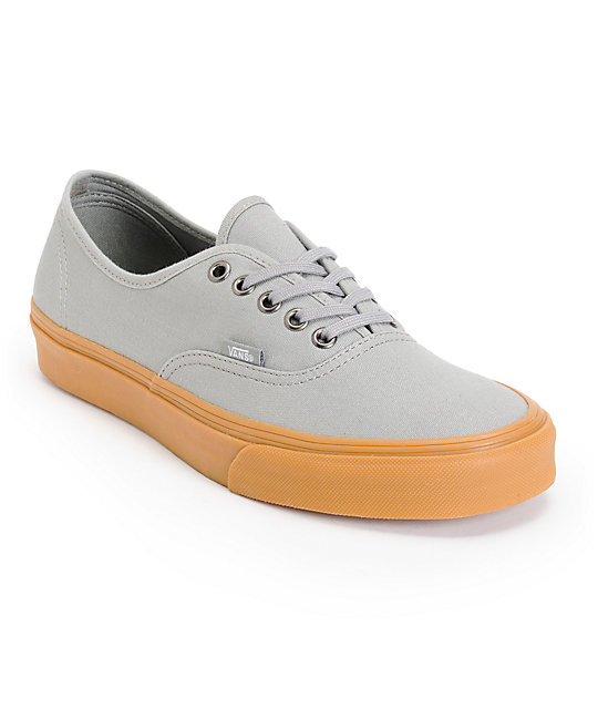 Vans Authentic Frost Grey & Gum Canvas Skate Shoes (Mens)
