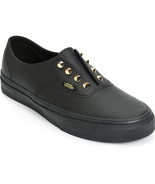 vans womens authentic leather shoe - black black