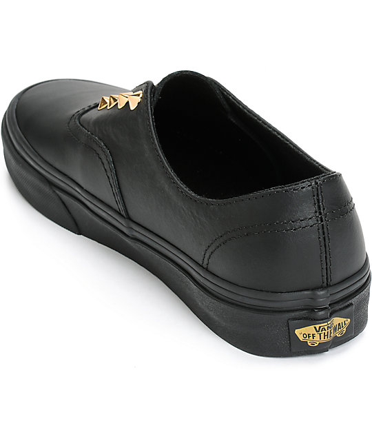 Vans Authentic Gore Stud Black Leather Slip-On Shoes