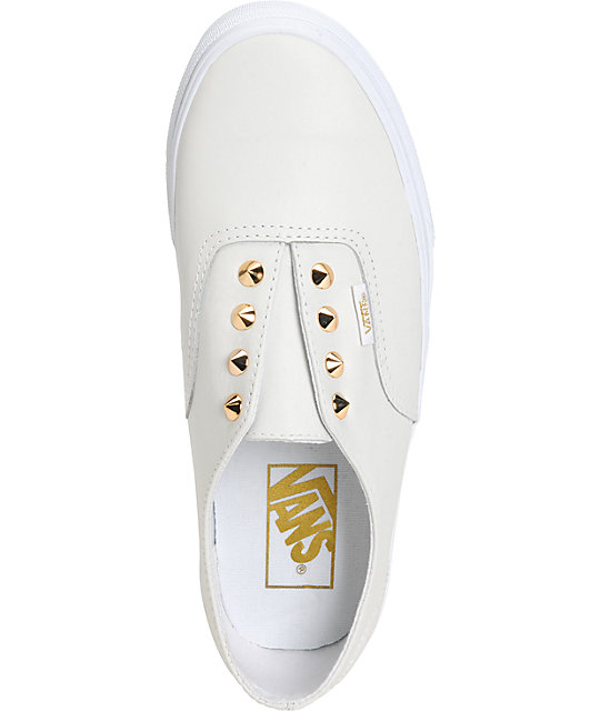 Vans Authentic Gore Stud White Leather Slip-On Shoes
