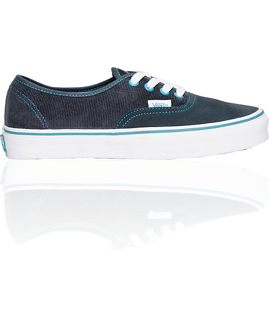 Vans Authentic Grey & Blue Corduroy Shoes