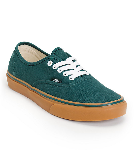Vans Authentic June Bug Green & Gum Skate Shoes (Mens)