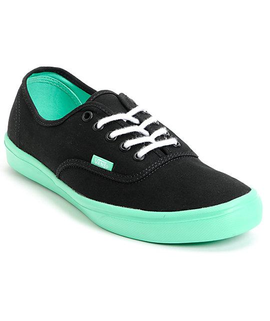 Vans Authentic Lite Black & Green Skate Shoes (Mens)