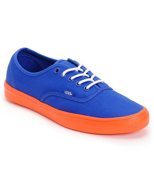 Vans Authentic Lite Blue & Orange Skate Shoes (Mens)