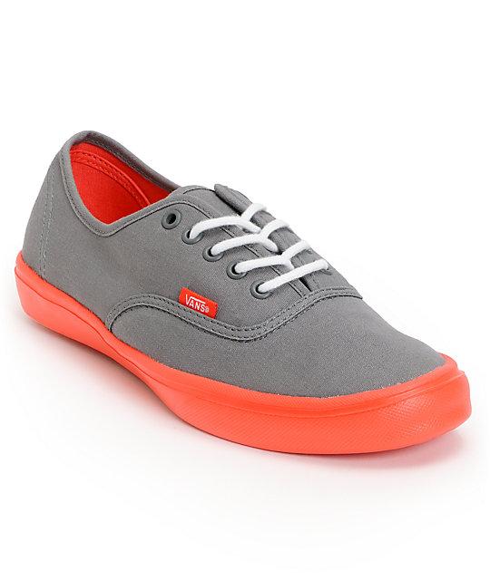 Vans Authentic Lite Grey & Coral Skate Shoes (Mens)