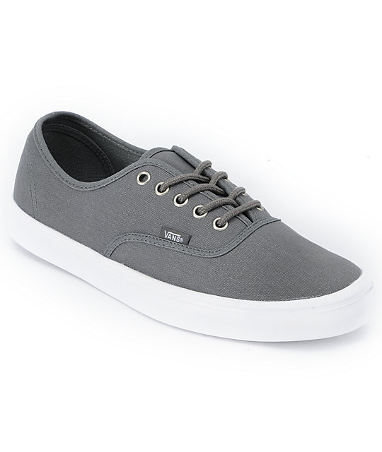 Vans Authentic Lite Grey & White Skate Shoes (Mens)