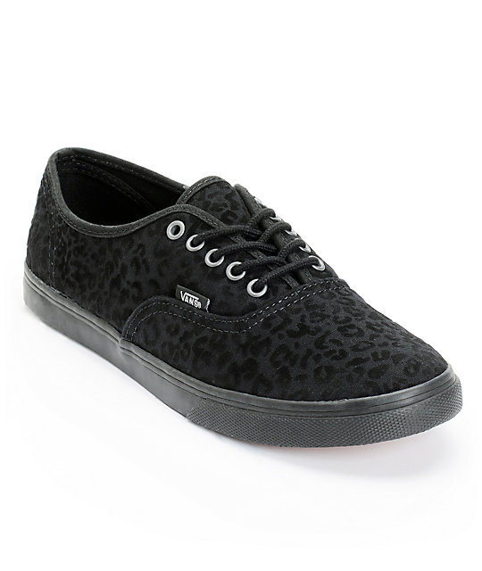 Vans Authentic Lo Pro Black Cheetah Print Shoes (Womens)