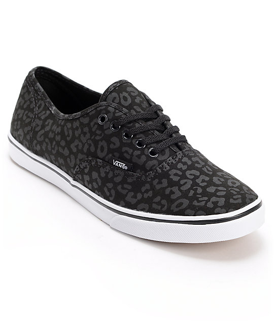 Vans Authentic Lo Pro Black Leopard Print Shoes (Womens)