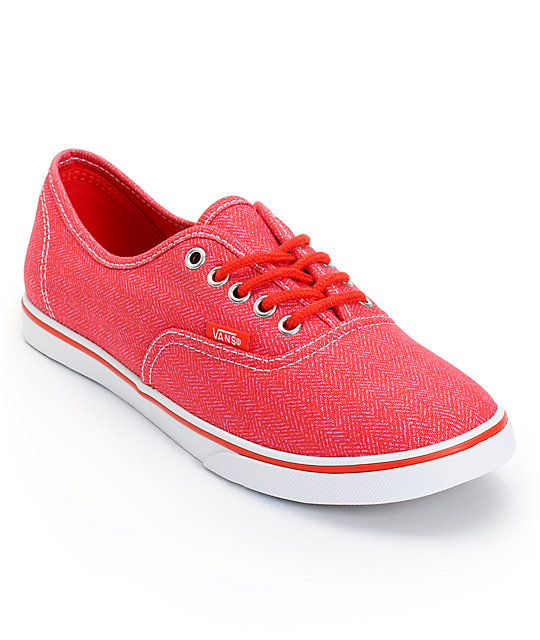 Vans Authentic Lo Pro Carmine Rose Red HB Print Shoes