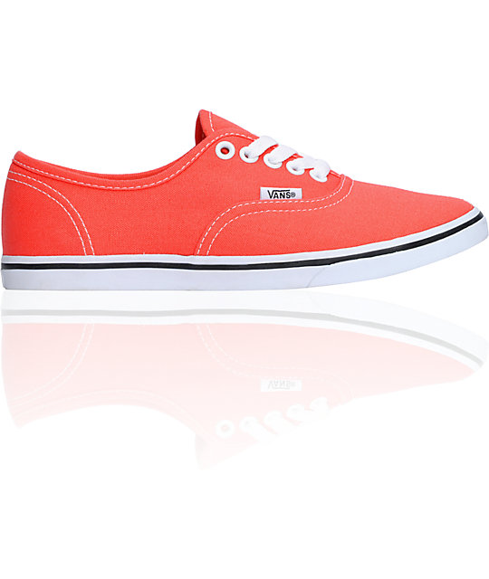 Vans Authentic Lo Pro Hot Coral & True White Shoes (Womens)