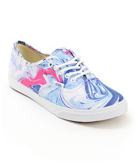 Vans Authentic Lo Pro Marble Blue & True White Shoes (Womens)
