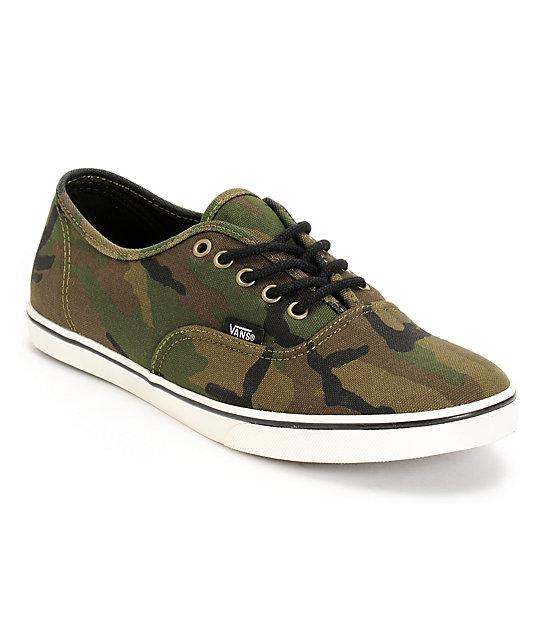 Vans Authentic Lo Pro Olive Camo Print Shoe At Zumiez Pdp