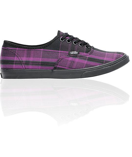 Vans Authentic Lo Pro Purple Pin Plaid Shoes