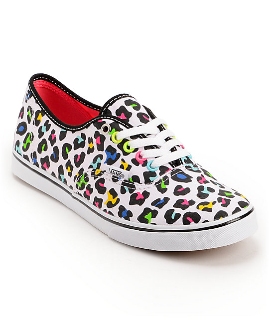 Vans Authentic Lo Pro True White Leopard Print Shoes (Womens)
