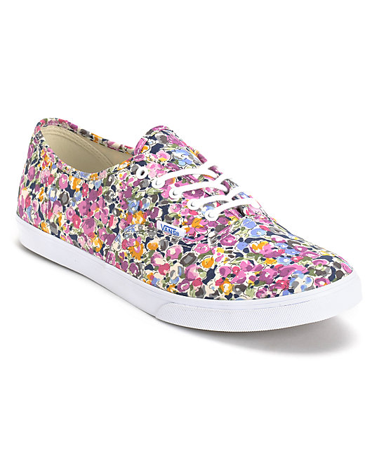 Vans Authentic Lo Pro Violet & White Floral Print Shoes (Womens)