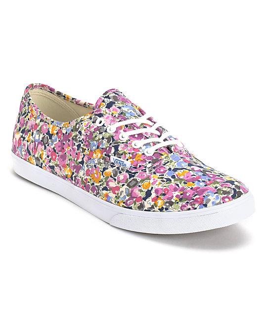 Vans Authentic Lo Pro Violet & White Floral Print Shoes (Womens)