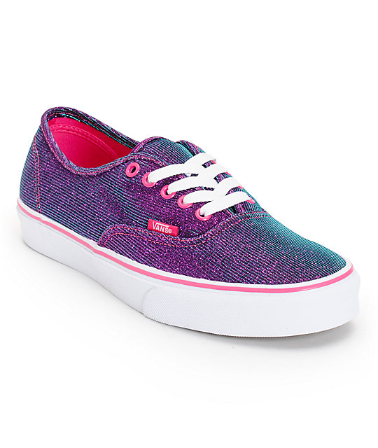 Vans Authentic Magenta Authentic Shimmer Shoes (Womens)