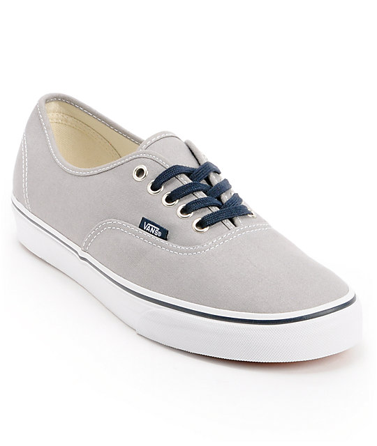 Vans Authentic Mid Gray & Navy Skate Shoes (Mens)