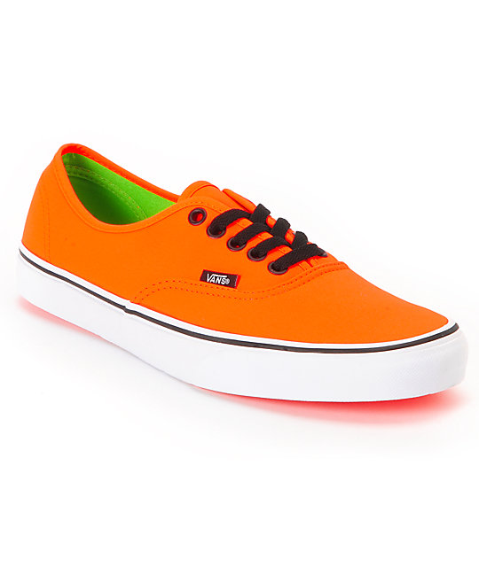 Vans Authentic Neon Orange & Green Skate Shoes (Mens)