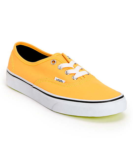 Vans Authentic Neon Orange & Yellow Shoes (Womens)