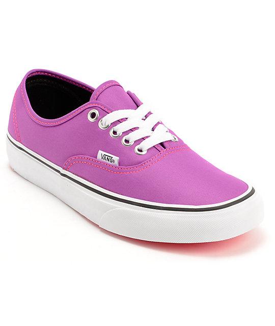 Vans Authentic Neon Purple & White Shoes (Womens)