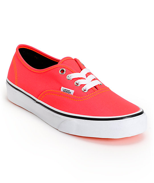 Vans Authentic Neon Red & Orange Shoes (Womens)