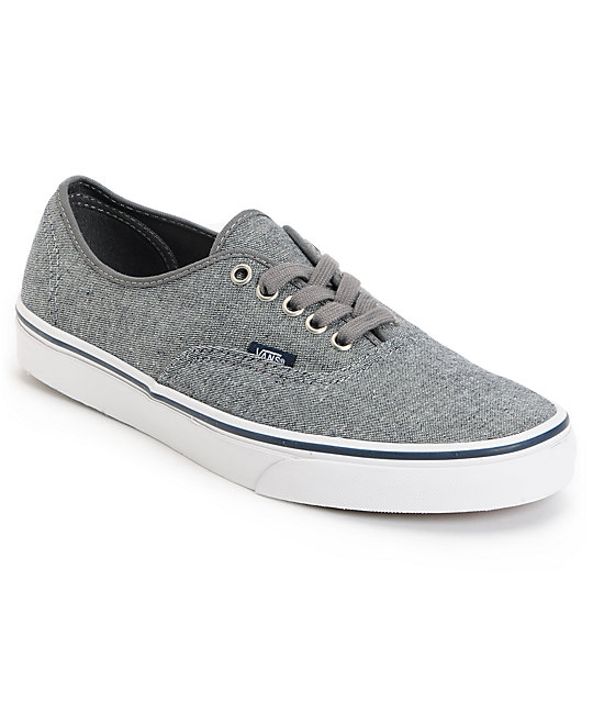 Vans Authentic Pewter Denim Skate Shoes (Mens)