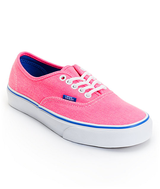 Vans Authentic Pink & Palace Blue Washed Twill Shoes (Womens)