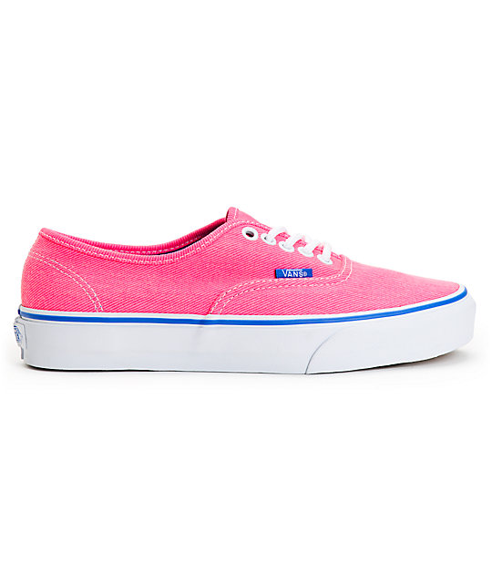 Vans Authentic Pink & Palace Blue Washed Twill Shoes