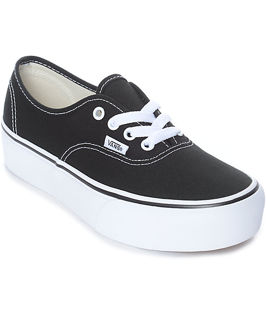 Vans Authentic Platform Black & White Skate Shoes by Vans